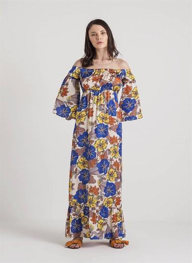 Xtsy Kayık Yaka Çiçekli Uzun Elbise Renkli